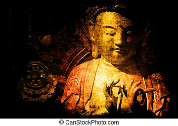 astratto, carta da parati, tempio, fondo, cinese