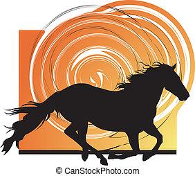 astratto, cavalli, silhouettes., vettore