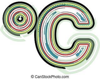 astratto, celcius, simbolo, colorito