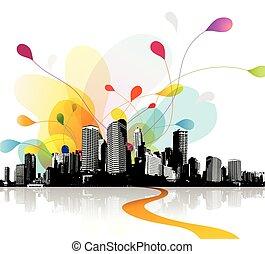astratto, cielo, illustrazione, cityscape.