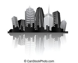 astratto, città, disegno
