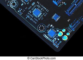 astratto, closeup, mainboard., elettronico, closeup., componente, computer, mainboard