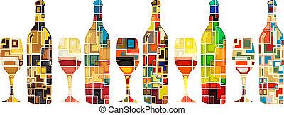 astratto, collezione, vino