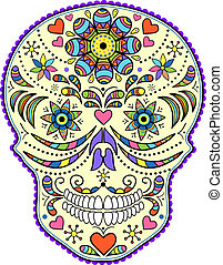 astratto, colorito, cranio