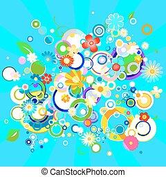 astratto, colorito, fondo, con, fiori, e, cerchi
