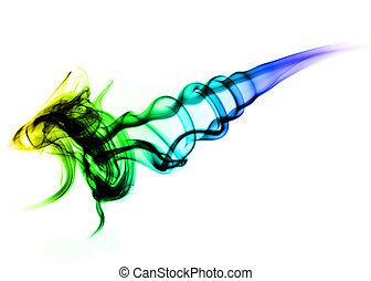 astratto, colorito, fumo, su, il, bianco