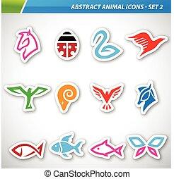 astratto, colorito, icone animali