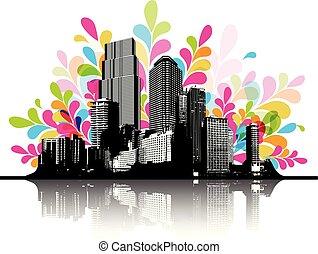 astratto, colorito, illustrazione, cityscape.