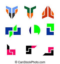 astratto, colorito, logotipo, icone