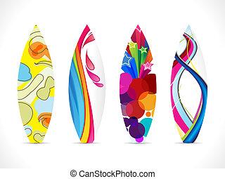 astratto, colorito, tavola da surf, icona