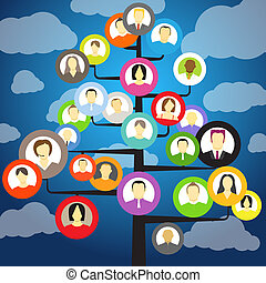 astratto, comunità, albero, con, avatars, di, membri