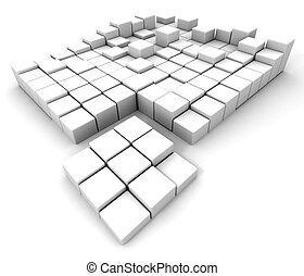 astratto, cubi, bianco