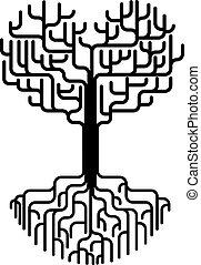 astratto, cuore, albero, silhouette