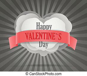 astratto, cuore, con, rosso, ribbon., felice, giorno fidanzato