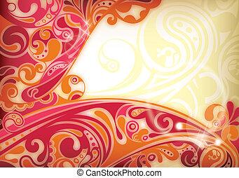 astratto, curva, sfondo rosso