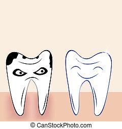 astratto, denti, cartone animato, dentale, fondo
