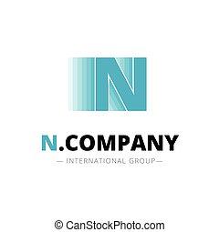 astratto, dinamico, n, vettore, lettera, minimalistic, logotipo, creativo