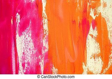 astratto, dipinto, rosa, e, sfondo arancia