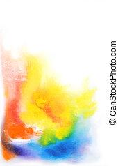 astratto, disegnato, acquarello, giallo, sfuocature, background:, mano, verde, blu, rosso