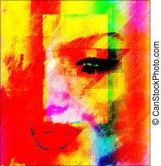 astratto, donna, arte, faccia
