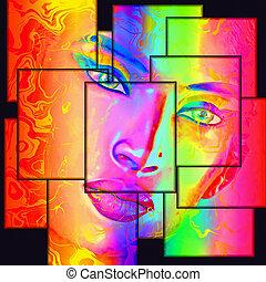 astratto, donna, colorito, faccia