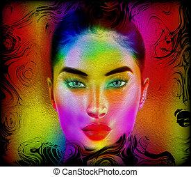 astratto, donna, face., colorito