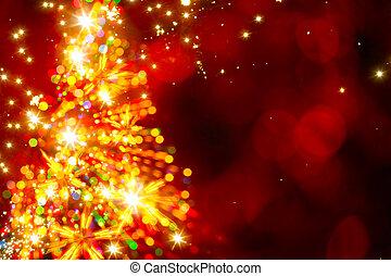 astratto, dorato, luce, albero natale, su, sfondo rosso