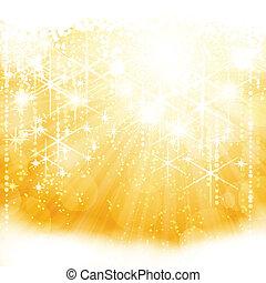 astratto, dorato, sfavillante, scoppio leggero, con, stelle,...