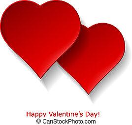 astratto, due, rosso, cuori, bianco, fondo., giorno valentines, augurio, card., vettore, eps10, illustrazione
