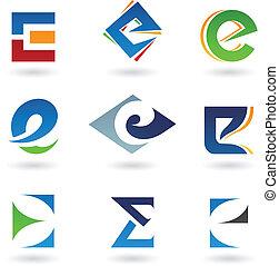 astratto, e, lettera, icone