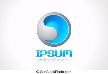 astratto, editable., sfera, vector., logotipo, tecnologia
