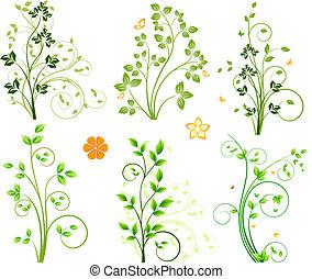 astratto, elementi floreali, set