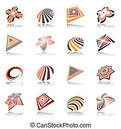 astratto, elementi, set., disegno, icone