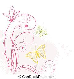 astratto, farfalle, fondale