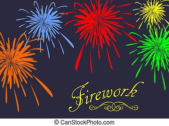 astratto, festivo, fireworks, fondo., vettore