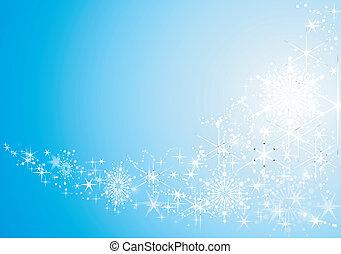 astratto, festivo, fondo, con, baluginante, stelle, e, neve,...