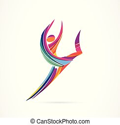 astratto, figura umana, logotipo, design., palestra, idoneità, correndo, allenatore, vettore, colorito, logo., attivo, idoneità, sport, ballo, web, icona, e, simbolo