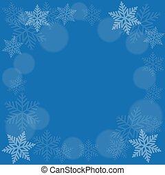astratto, fiocco di neve, su, sfondo blu