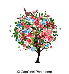 astratto, fiore, albero, uccelli