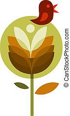 astratto, fiore, con, uccello, vettore, illustrazione, -1