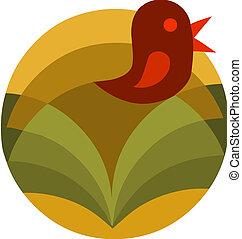 astratto, fiore, con, uccello, vettore, illustrazione, -2