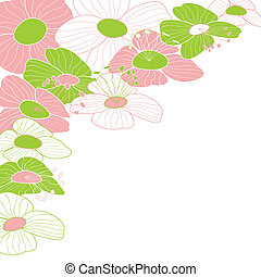 astratto, fiore, cornice, colorito