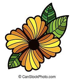 astratto, fiore, foglie, colorito