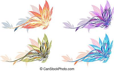 astratto, fiore, illustrazione, 4, colori