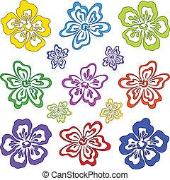 astratto, fiore, set, pictogram