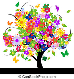 astratto, fiori, albero