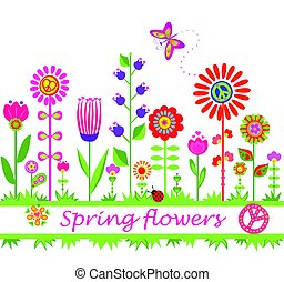 astratto, fiori, bordo, hippie, colorito