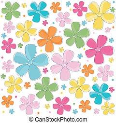 astratto, fiori, colorito, fondo