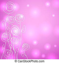 astratto, fiori, sopra, sfondo rosa, con, luci