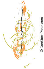 astratto, flauto, illustrazione